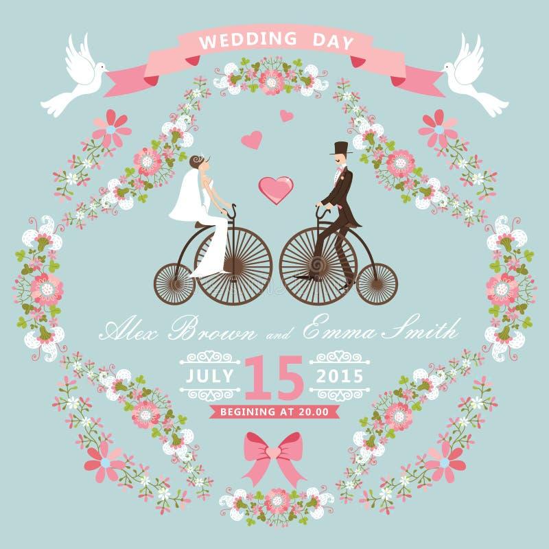 Invitación de la boda del vintage Marco floral, novia, GR stock de ilustración