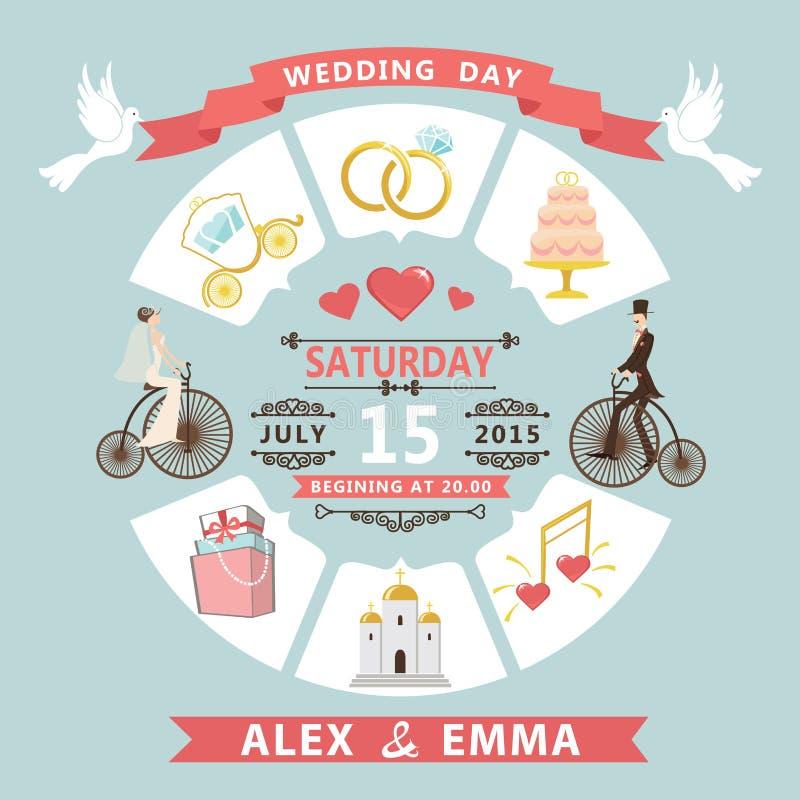 Invitación de la boda en estilo infographic Novia, novio en el BI retro libre illustration