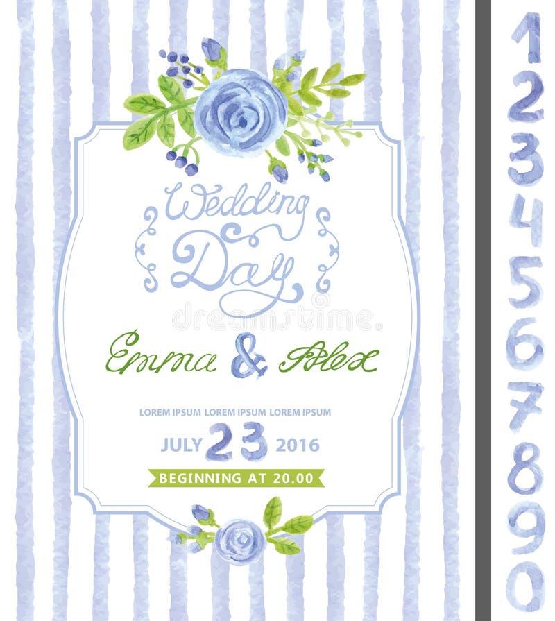 Invitación de la boda Flor azul de la acuarela, tiras libre illustration