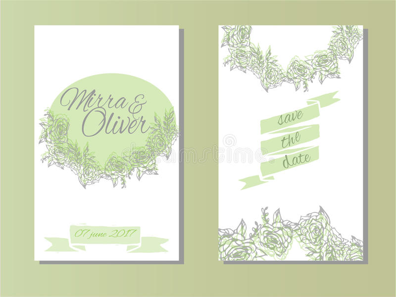 Invitación de la boda, gracias cardar, ahorran las tarjetas de fecha boda libre illustration