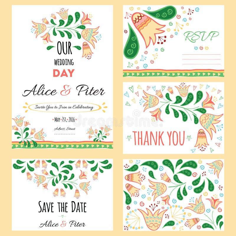 Invitación de la boda, gracias cardar, ahorran las tarjetas de fecha Conjunto Wedding Tarjeta de RSVP ilustración del vector