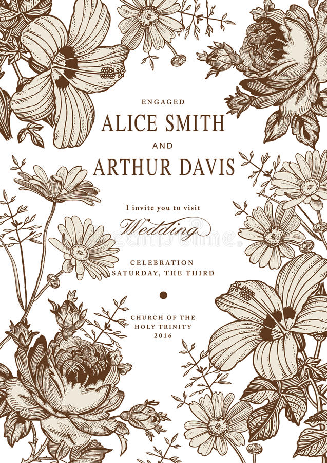 Invitación de la boda Malva hermosa del hibisco de Rose de la manzanilla de las flores stock de ilustración