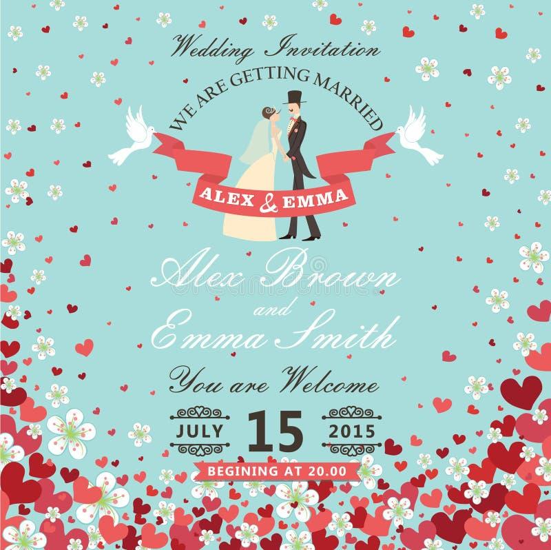 Invitación de la boda Novia y novio Corazones del vuelo, backgro de las flores libre illustration