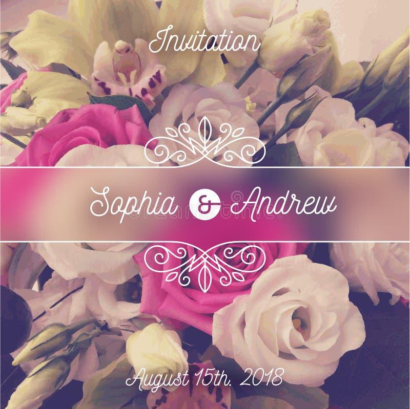 Invitación de la boda Tarjeta de felicitación con el fondo de las flores y los elementos de los flourishes ilustración del vector