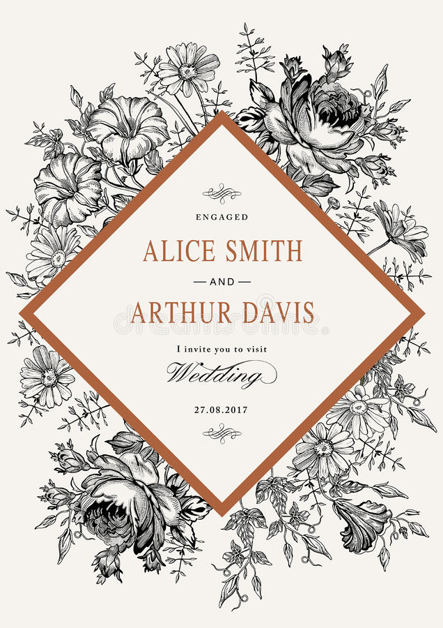 Invitación de la boda Tarjeta realista hermosa de Rose de la manzanilla de las flores Capítulo, etiqueta Ejemplo del victorian de stock de ilustración