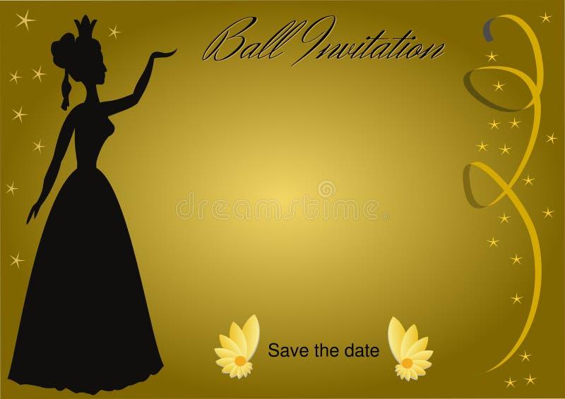 Invitación de la bola con la silueta de la señora del vintage en fondo de oro de la pendiente con las cintas de oro y pequeño luj libre illustration