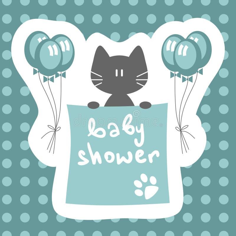 Invitación de la ducha de bebé con el gatito stock de ilustración