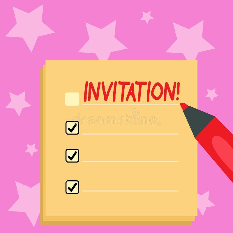 Invitación de la escritura del texto de la escritura Petición escrita o verbal del significado del concepto alguien de ir en algu libre illustration