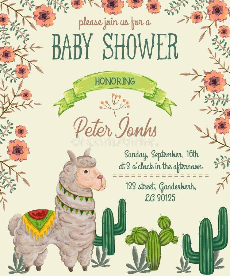 Invitación de la fiesta de bienvenida al bebé con el animal de la llama, los cactus y los elementos florales ilustración del vector