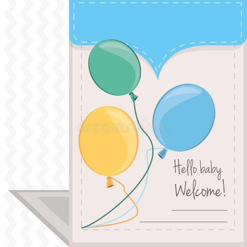 Invitación de la fiesta de bienvenida al bebé a la recepción del regalo el niño stock de ilustración