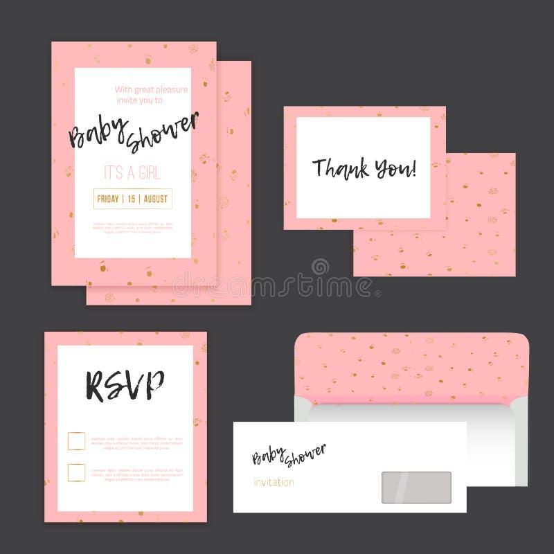 Invitación de la fiesta de bienvenida al bebé con los puntos de oro en fondo rosado con RSVP, agradezca le para cardar y el sobre stock de ilustración