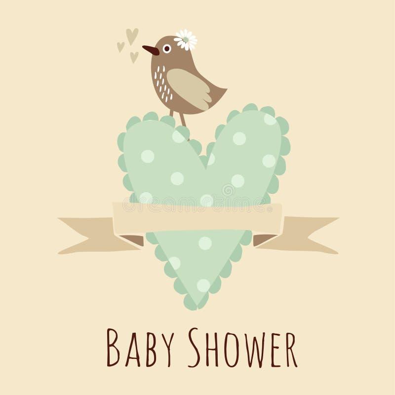 Invitación de la fiesta de bienvenida al bebé, tarjeta de cumpleaños con el pájaro, corazón stock de ilustración
