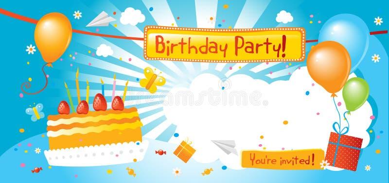 Invitación de la fiesta de cumpleaños ilustración del vector