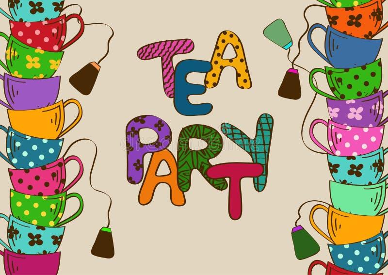 Invitación de la fiesta del té con las tazas de té stock de ilustración