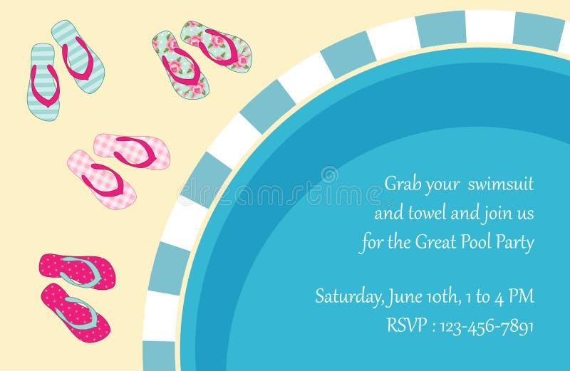 Invitación de la fiesta en la piscina stock de ilustración