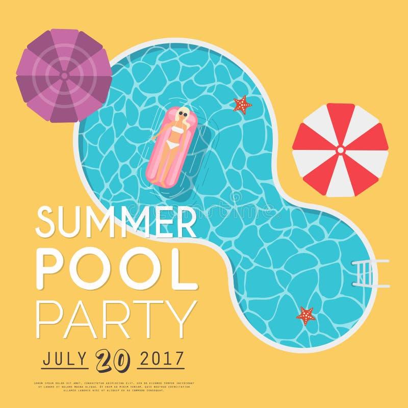 Invitación de la fiesta en la piscina del verano Plantilla del aviador o de la bandera DES plano libre illustration