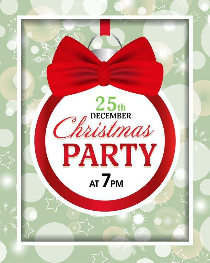 Invitación de la fiesta de Navidad con la bola y el arco rojo Marco de la decoración para la bandera, tarjeta, cartel Vector stock de ilustración