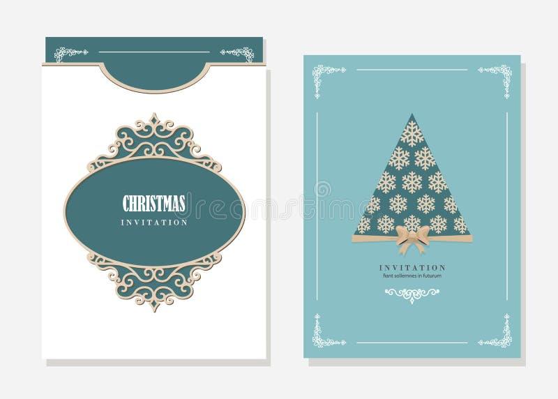 Invitación De La Fiesta De Navidad Y Plantilla Del Sobre Con Cortar ...