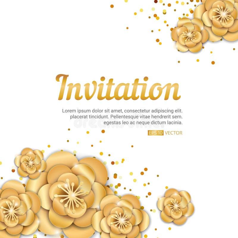 Invitación de la flor de loto del oro stock de ilustración