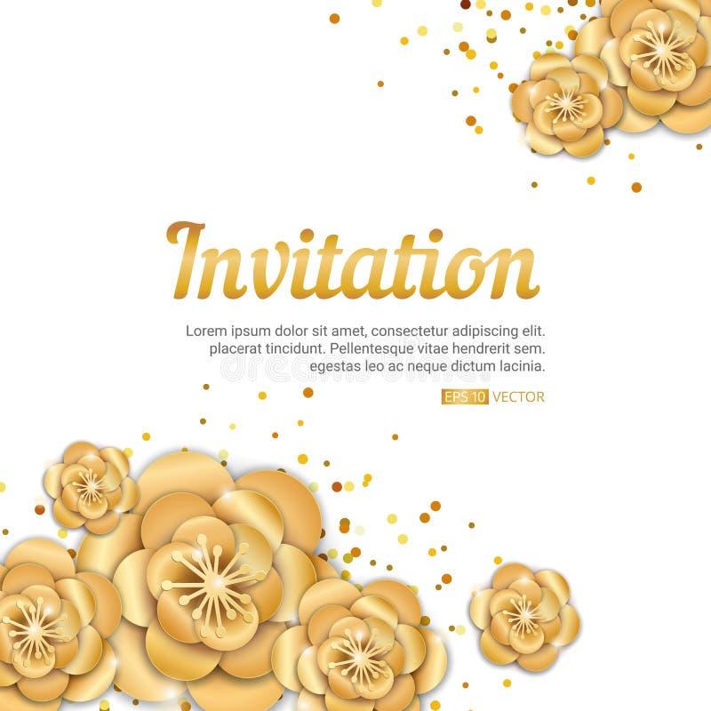 Invitación de la flor de loto del oro libre illustration