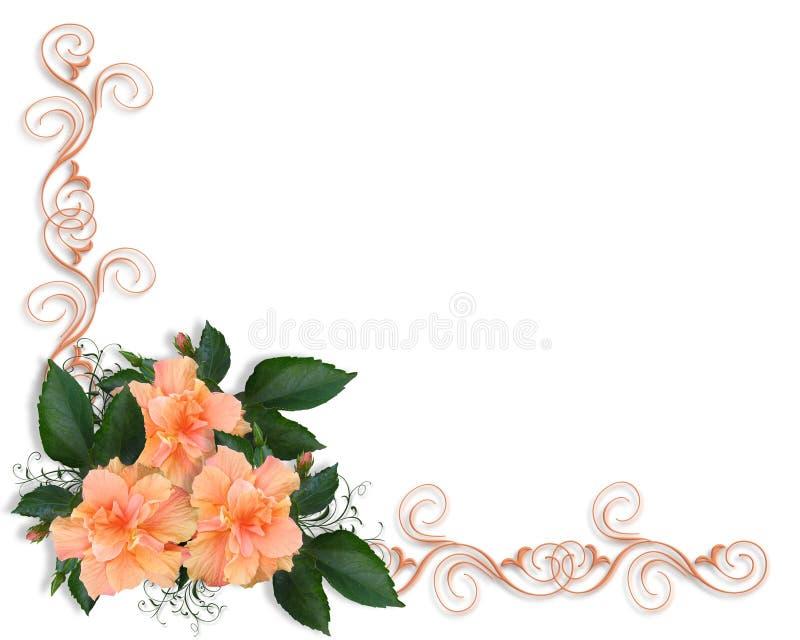 Invitación de la frontera del hibisco stock de ilustración