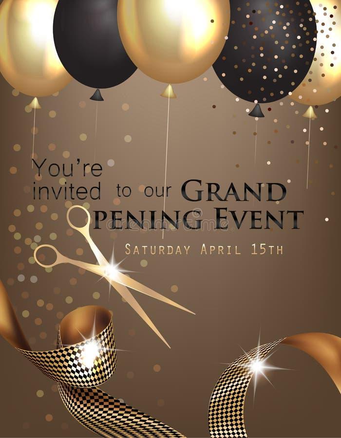 Invitación de la gran inauguración con la cinta rizada, tijeras y oro y balones de aire negros ilustración del vector