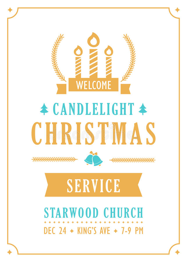 Invitación de la iglesia del servicio de la luz de una vela de la Navidad libre illustration