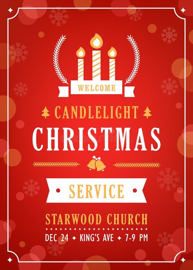 Invitación de la iglesia del servicio de la luz de una vela de la Navidad ilustración del vector