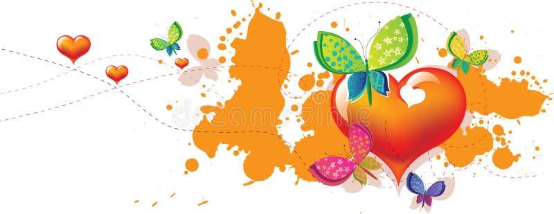 Invitación de la mariposa del corazón stock de ilustración