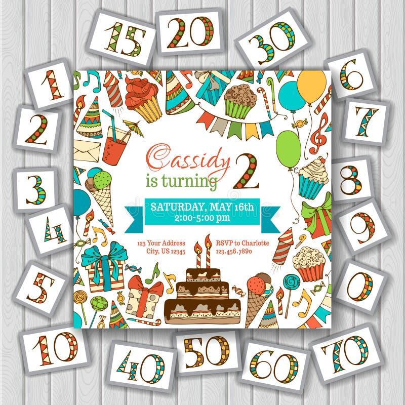 Invitación de la tarjeta del feliz cumpleaños en el fondo de madera stock de ilustración