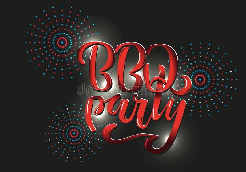 Invitación de las letras del partido del Bbq a la barbacoa americana del Día de la Independencia con en el fondo negro Ilustraci? imágenes de archivo libres de regalías