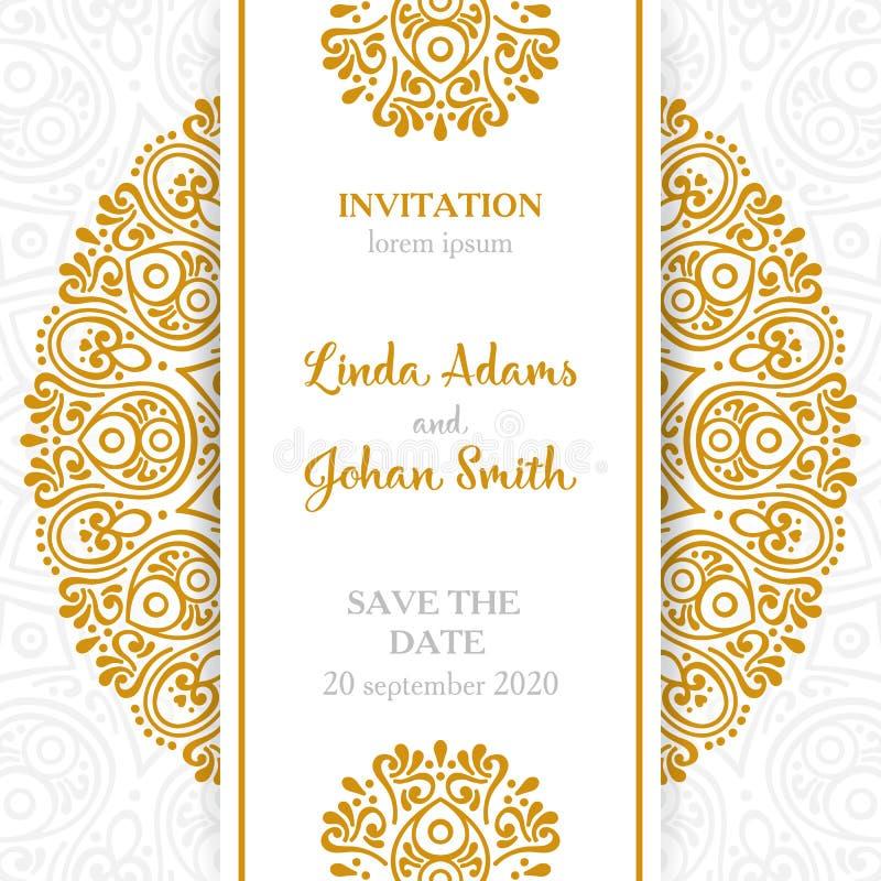 Invitación de lujo de la boda del vector con la mandala ilustración del vector