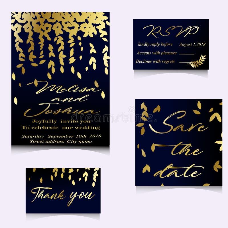 Invitación de oro del vector con los elementos florales hechos a mano ilustración del vector