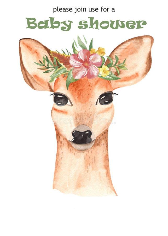 Invitación del cartel de la acuarela con los animales mexicanos y plantas tropicales y flores ilustración del vector