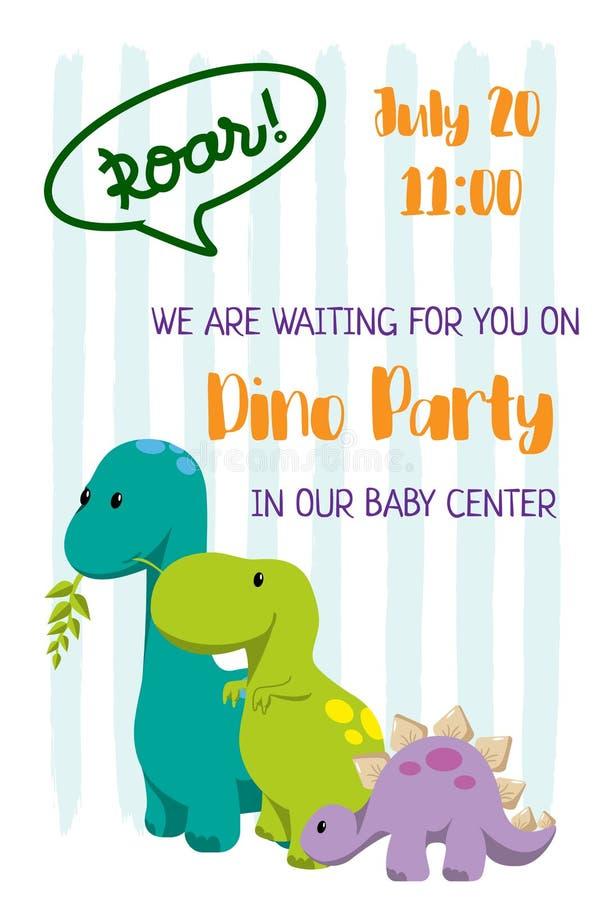Invitación del club del niño para el diseño del partido de Dino con 3 dinosaurios planos stegosaurus, tyrannosaur, diplodocus y l stock de ilustración