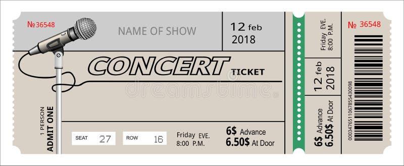 Invitación del concierto del boleto demostración, vale, boleto entrada de la entrada de la admisión del paso ilustración del vector