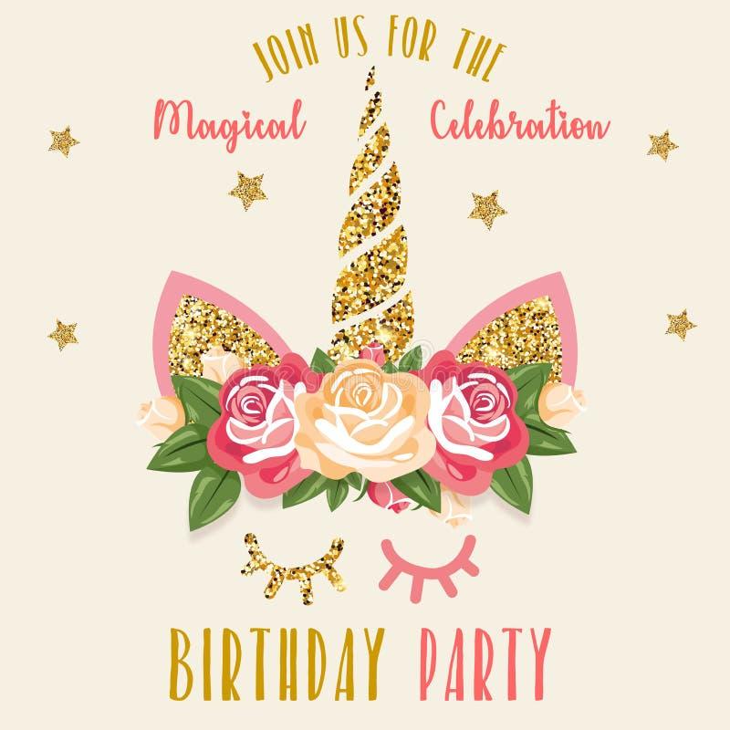 Invitación del cumpleaños con unicornio libre illustration