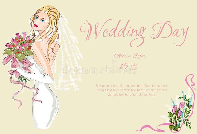 Invitación del día de boda con el prometido hermoso libre illustration