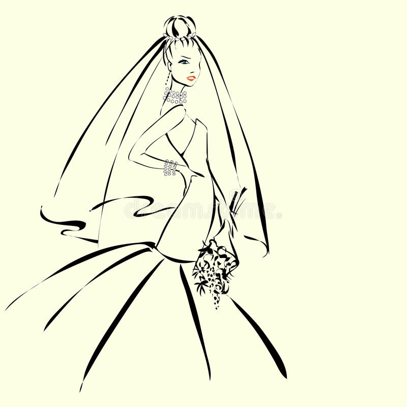 Invitación del día de boda con el prometido hermoso ilustración del vector