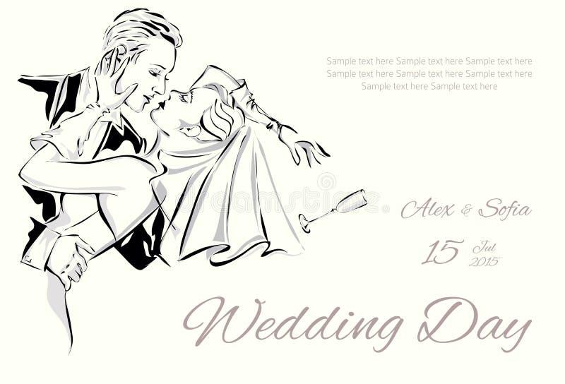 Invitación del día de boda con los pares dulces ilustración del vector