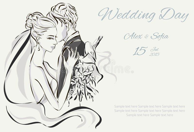 Invitación del día de boda con los pares dulces stock de ilustración