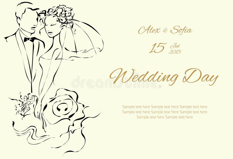 Invitación del día de boda con los pares dulces libre illustration