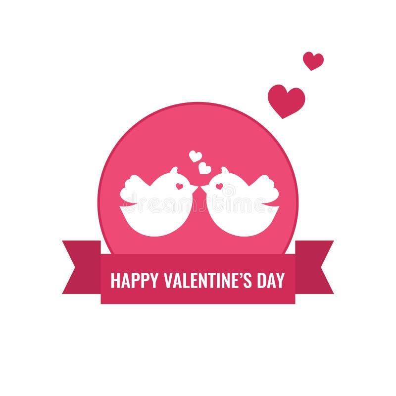 Invitación del día y de boda de la tarjeta del día de San Valentín s con los pares de pájaros y de corazones stock de ilustración