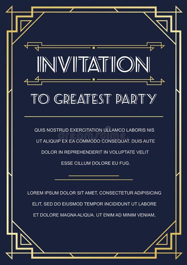 Invitación del estilo de Gatsby libre illustration