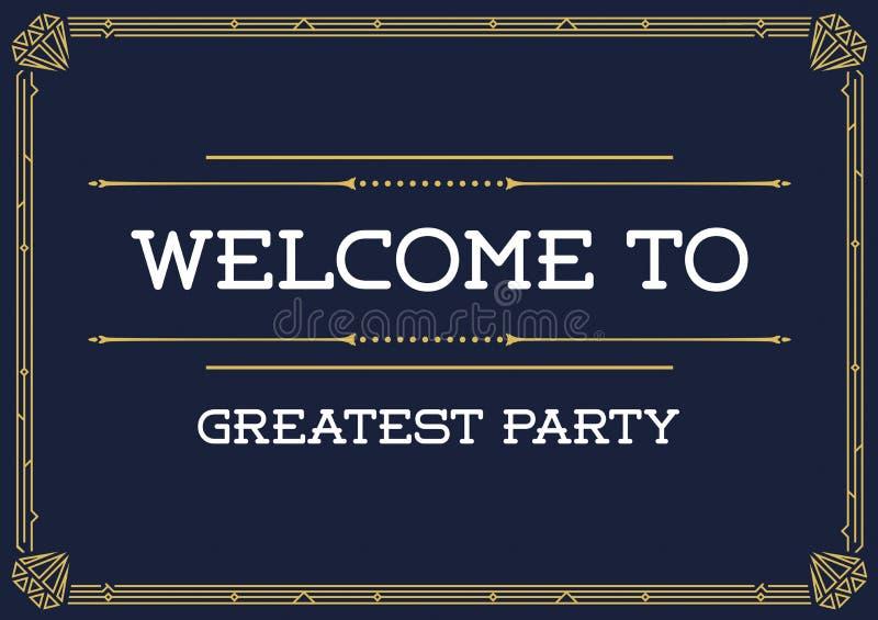 Invitación del estilo de Gatsby en Art Deco o la época de Nouveau stock de ilustración