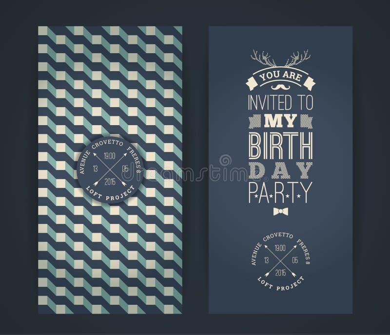 Invitación del feliz cumpleaños, fondo retro del vintage con el geometr libre illustration