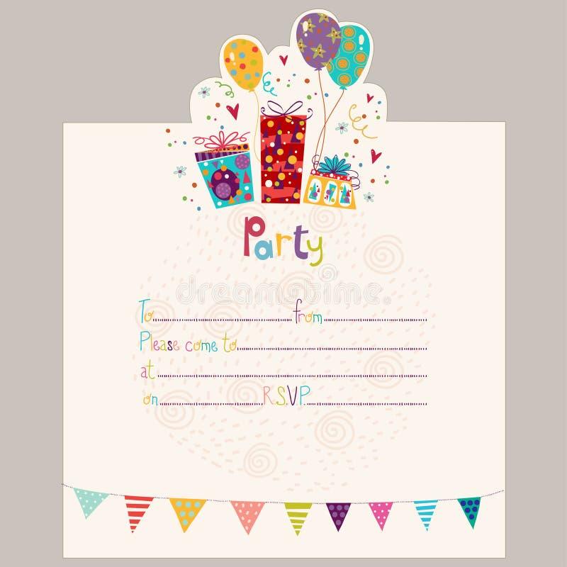 Invitación del feliz cumpleaños Tarjeta de felicitación del cumpleaños con los regalos y los globos libre illustration