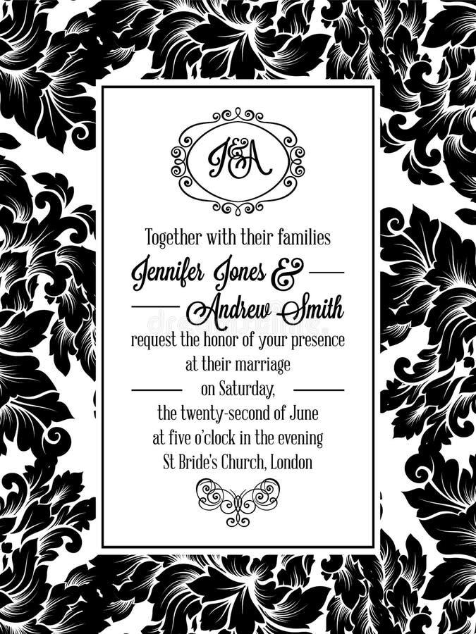 Invitación del modelo del brocado del victorian del damasco libre illustration