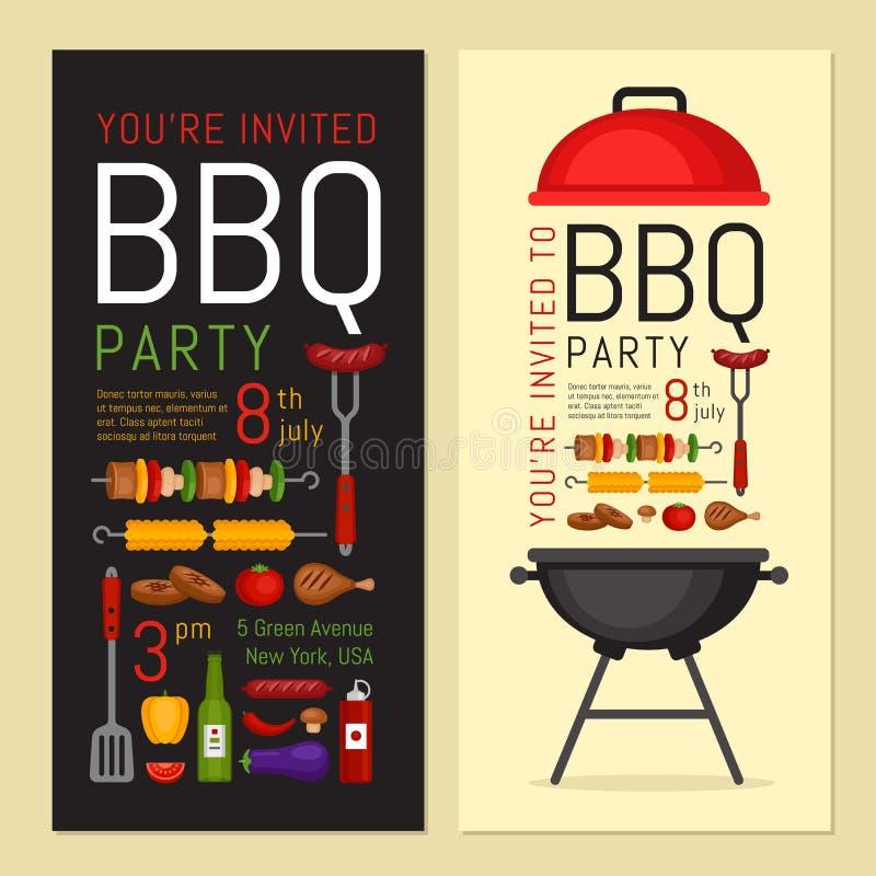 Invitación del partido del Bbq con la parrilla y la comida Cartel de la barbacoa Alimento ilustración del vector
