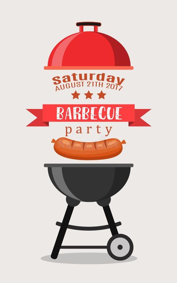 Invitación del partido del Bbq o de la barbacoa ilustración del vector